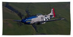A P-51d Mustang In Flight Bath Towel