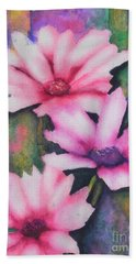 Hand Towel featuring the painting A Touch Of Pink by Chrisann Ellis