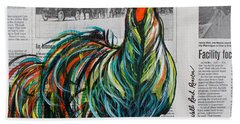 Bath Towel featuring the painting A Well Read Rooster by Janice Rae Pariza