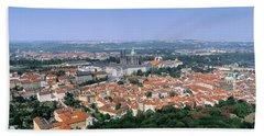 Aerial View Of A City, Prague, Czech Bath Towel
