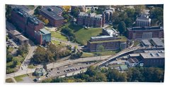 aerials of WVVU campus Bath Towel