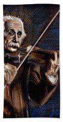 Albert Einstein And Violin Bath Towel