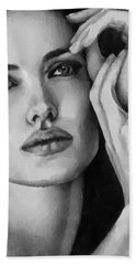 Bath Towel featuring the painting Angelina Jolie Black And Whire by Georgi Dimitrov