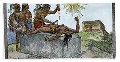 Aztec Ritual Sacrifice Hand Towel by Granger