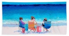 Beach Painting 'girl Friends' By Jan Matson Bath Towel by Jan Matson