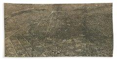 Birdseye Map Of Denver Colorado - 1887 Bath Towel by Eric Glaser