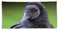 Black Vulture Portrait Bath Towel
