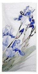 Blue Irises Hand Towel