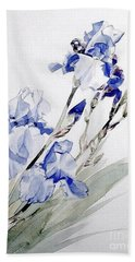 Blue Irises Bath Towel