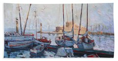 Boats In Rhodes Greece  Hand Towel