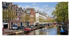 Boats On Amsterdam Canal Hand Towel