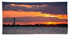 Cape May Lighthouse Sunset Hand Towel