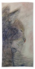 Hand Towel featuring the painting Cat Nap by Angela Davies