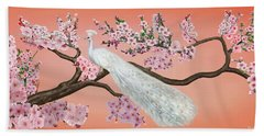 Cherry Blossom Peacock Bath Towel by Glenn Holbrook
