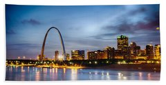 City Of St. Louis Skyline. Image Of St. Louis Downtown With Gate Hand Towel