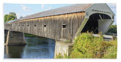 Hand Towel featuring the photograph Cornish-windsor Covered Bridge IIi by Edward Fielding