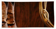 Cowboy Boots And Lasso Lariat Hand Towel