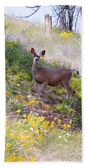 Deer In Wildflowers Bath Towel by Athena Mckinzie