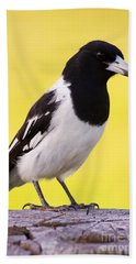 Fencepost Magpie Hand Towel by Jorgo Photography - Wall Art Gallery