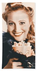 Fifties Pinup Woman Seeing Movie At Retro Cinema Bath Towel