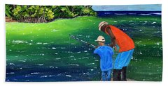 Hand Towel featuring the painting Fishing Buddies by Laura Forde