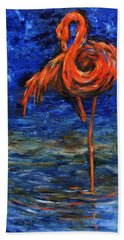 Bath Towel featuring the painting Flamingo by Xueling Zou
