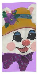 Hand Towel featuring the painting Funny Bunny by Barbara McDevitt