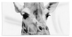 Giraffe On White Background  Hand Towel