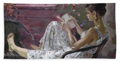 Girl Reading Hand Towel