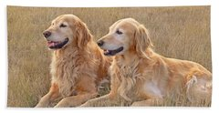 Golden Retrievers In Golden Field Bath Towel