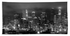 Gotham City - Los Angeles Skyline Downtown At Night Hand Towel