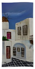 Hand Towel featuring the painting Greek Village by Janice Rae Pariza