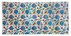 Iznik Ceramics With Floral Design Bath Towel