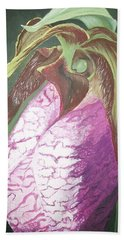 Hand Towel featuring the painting Lady Slipper Orchid by Sharon Duguay