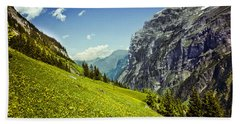 Bath Towel featuring the photograph Lauterbrunnen Valley In Bloom by Jeff Goulden