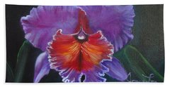 Hand Towel featuring the painting Lavender Orchid by Jenny Lee