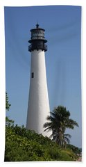 Ligthouse - Key Biscayne Hand Towel by Christiane Schulze Art And Photography