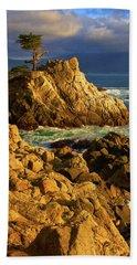 Lone Cypress On The Coast, Pebble Bath Towel