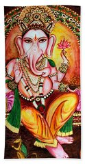 Bath Towel featuring the painting Lord Ganesha by Harsh Malik