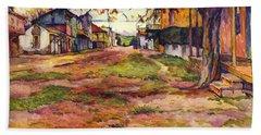 Main Street Of Early Spanish California Days San Juan Bautista Rowena M Abdy Early California Artist Hand Towel