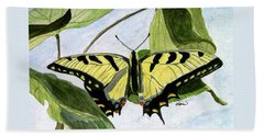 Hand Towel featuring the painting Male Eastern Tiger Swallowtail by Angela Davies