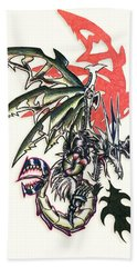 Bath Towel featuring the painting Mech Dragon Tattoo by Shawn Dall
