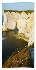 Morning Light At Old Harry Rocks Bath Towel
