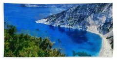 Myrtos Beach In Kefallonia Island Hand Towel