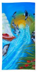 Nine Eagles For Success. Soul Collection Hand Towel by Oksana Semenchenko