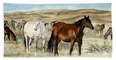 Bath Towel featuring the painting Nine Horses by Melly Terpening