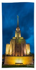 Oquirrh Mountain Lds Temple Evening Thunderstorm Hand Towel