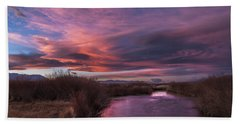Owens River Sunset Hand Towel