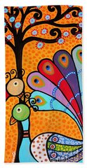 Bath Towel featuring the painting 2 Peacocks And Tree by Pristine Cartera Turkus