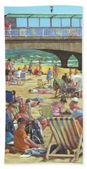 people on Bournemouth beach Hand Towel